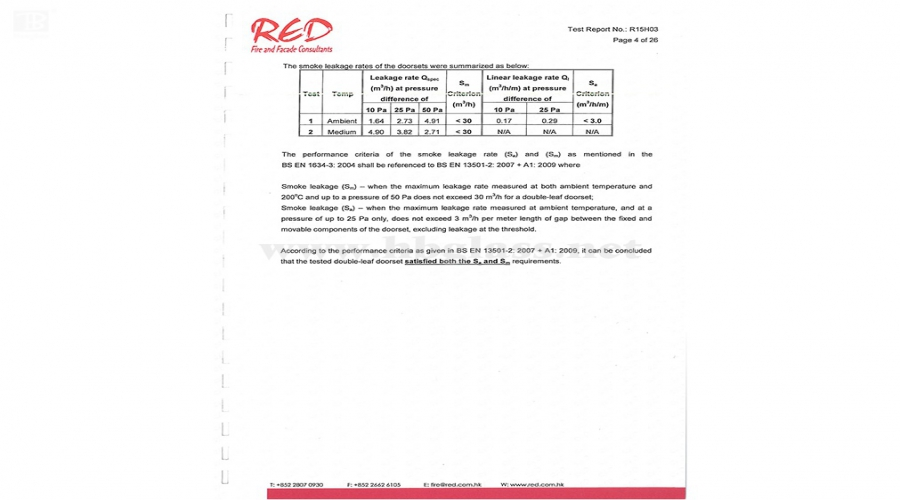 European Standard Smoke Control Test Report 2