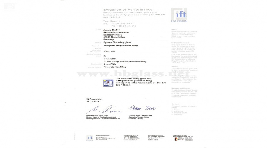 Report on Radiation Resistance of Crystal Silicon Fireproof Glass of European Standard